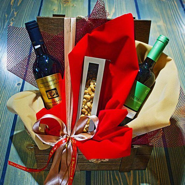 καλάθι δώρου ποτά κρασιά